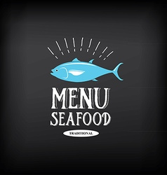 Seafood menu and badges design elements vector