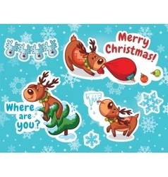 Christmas sticker set reindeer santa vector