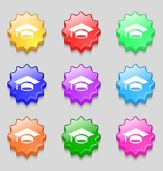 Graduation icon sign symbol on nine wavy colourful vector