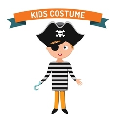 Pirate kid costume isolated vector image