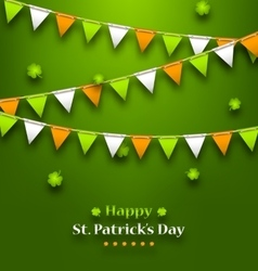 Bunting pennants in irish colors and clovers for vector