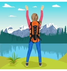 Young female hiker enjoying mountain lake vector
