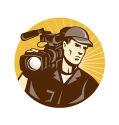 Cameraman film crew pro video movie camera vector