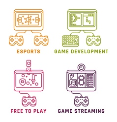 Game related concepts line style vector image