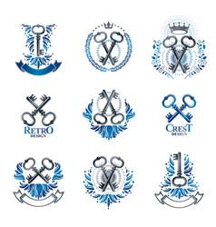Ancient keys emblems set heraldic coat of arms vector