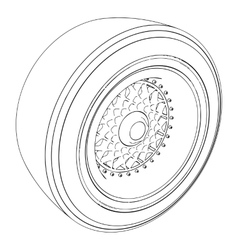 Automotive wheel isolated on white vector image