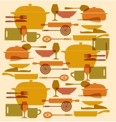 background of kitchenware set vector image