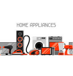 Banner with home appliances household items for vector