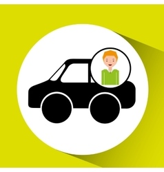 Boy car sedan cartoon icon design vector