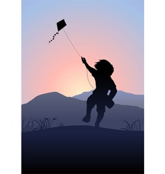 Boy playing a kite vector