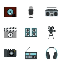 Broadcasting icons set flat style vector