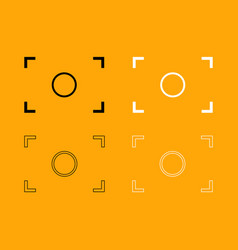 camera focus set black and white icon vector image