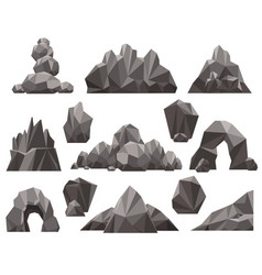 Cartoon 3d rock and stone set vector