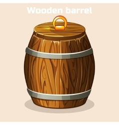 Cartoon wooden barrel closed game elements vector