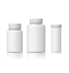 Cool realistic white plastic bottle set vector