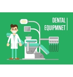 Dental equipment banner with dentist vector image vector image