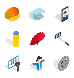 Dependence icons set isometric style vector