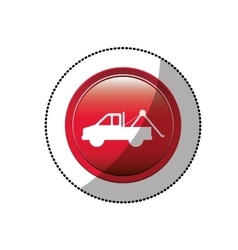 Dotted sticker with tow truck icon vector