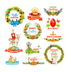 Easter icon set with cartoon holiday symbols vector