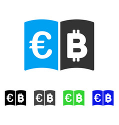 Euro and bitcoin catalog flat icon vector