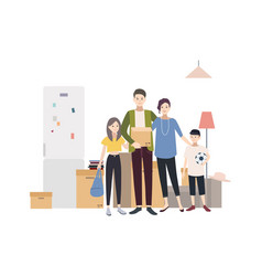 family moving into a new house with things vector image