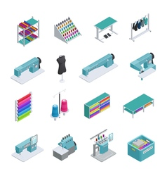 Garment factory isometric icon set vector