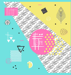 geometric icons and elements memphis poster vector image vector image