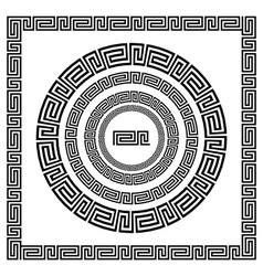 Greek ornament circle ornament meander round frame vector