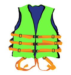 Green life jacket vector