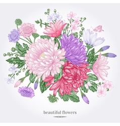 greeting card with a bouquet vector image vector image