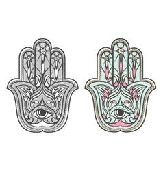 Hamsa fatima hand amulet symbol set vector