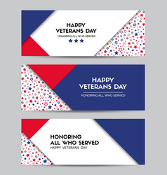 Happy veterans day set of headers vector
