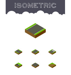 Isometric way set of unilateral driveway footer vector
