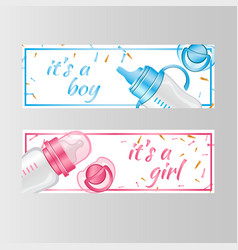 it s a boy and it s a girl two banner vector image vector image