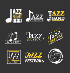 Jazz concert logo labels set isolated on black vector