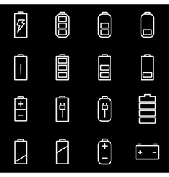 Line battery icon set vector