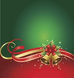 merry christmas background with bells and ribbons vector image vector image