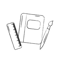 Notebook with school supplies icon image vector