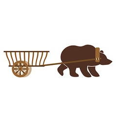 Russian wain and bear traditional carriage in vector