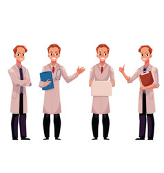 Set of male man doctors in white medical coats vector