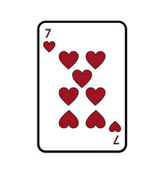 Seven of hearts french playing cards related icon vector