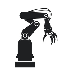 silhouette industrial robot hand tool vector image