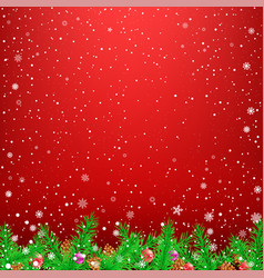 Spruce branch red snow background vector