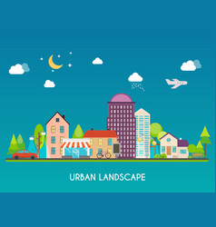 urban landscape modern buildings and suburb with vector image vector image