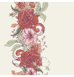 Vintage botanical seamless border with blooming vector