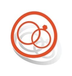 Wedding rings sign sticker orange vector