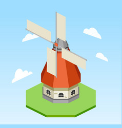 windmill isometric vector image vector image