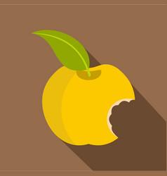 Yellow bitten apple icon flat style vector