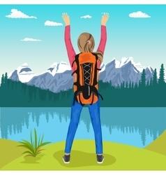 Young female hiker enjoying mountain lake vector