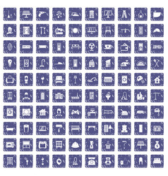 100 comfortable house icons set grunge sapphire vector